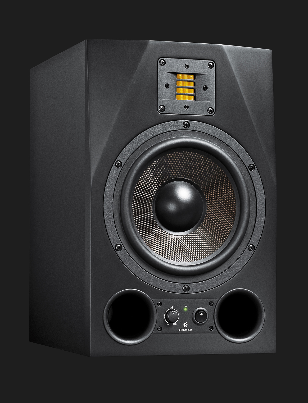 adam audio a8x active studio monitor near midfield