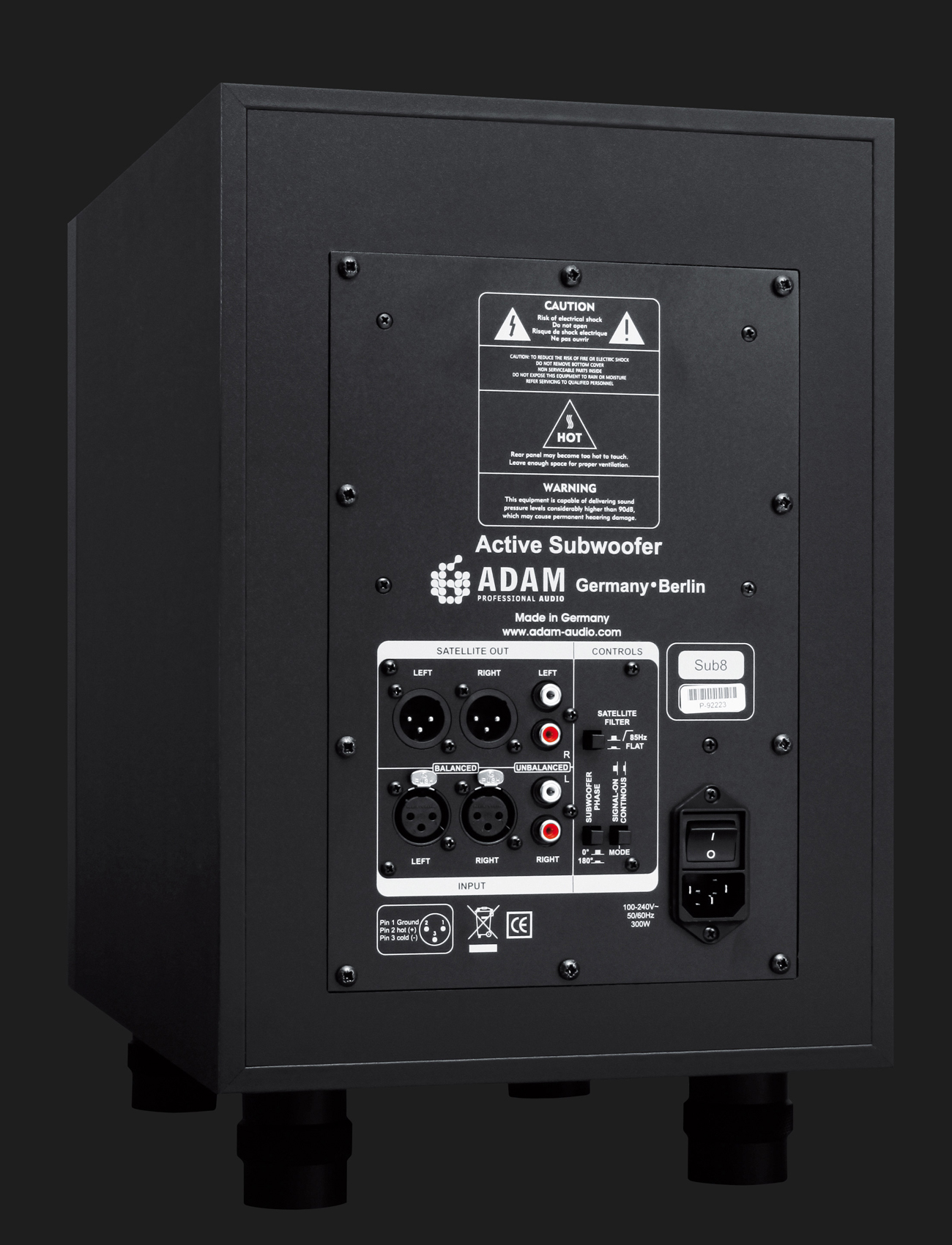 Adam Audio Sub8 Active Subwoofer For Smaller Studio Monitors Power Supply To A Car Amplifier Subwoofers In Your Home Backside
