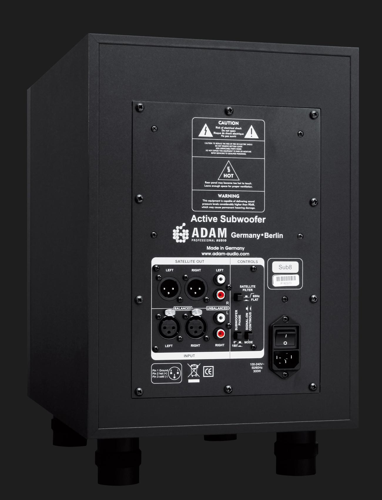 Adam Audio Sub8 Active Subwoofer For Smaller Studio Monitors Precision Power Wiring Diagram Backside